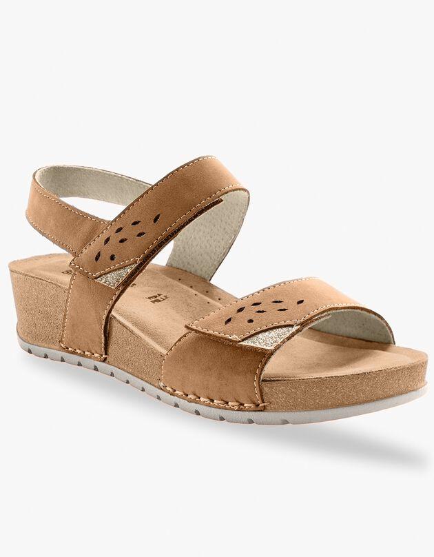 Comfortabel brede sandalen in leer - bruin, bruin, hi-res