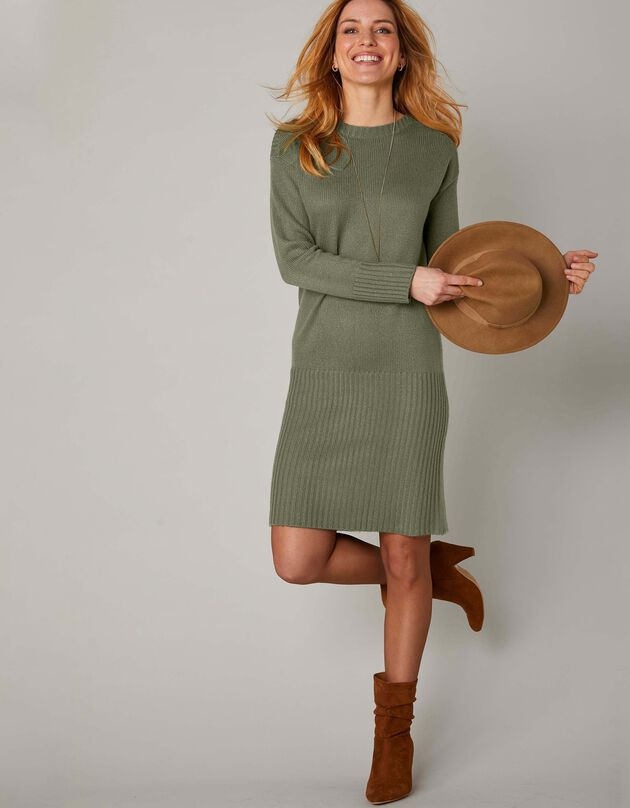 Trui-jurk in ribtricot, kaki, hi-res