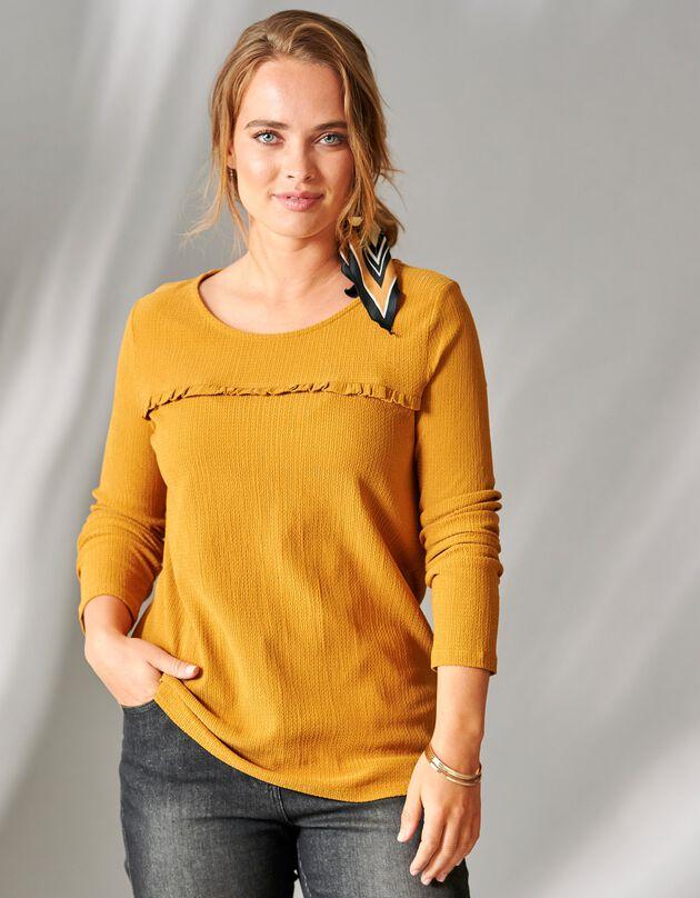 Ruim T-shirt met lange mouwen en ronde hals, kerrie, hi-res
