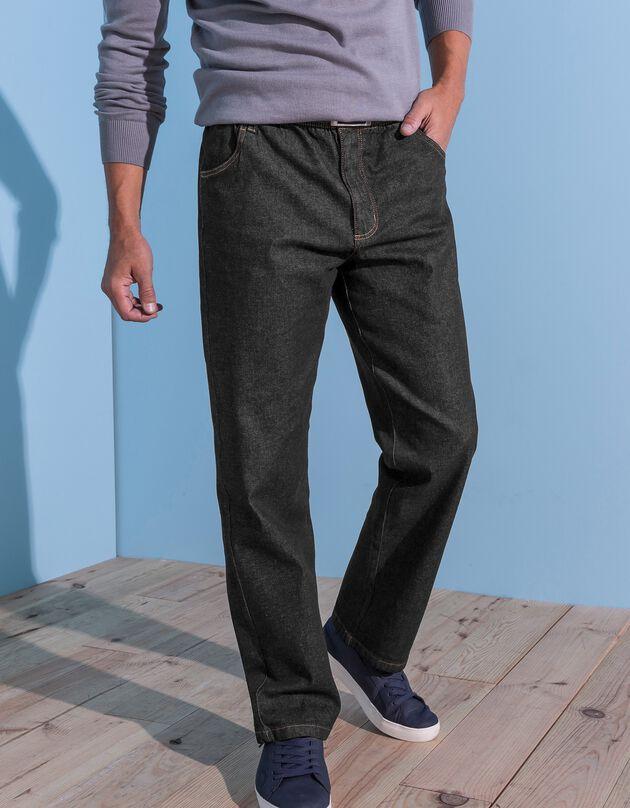 Jeans met elastische taille - binnenpijpl. 82 cm, black, hi-res