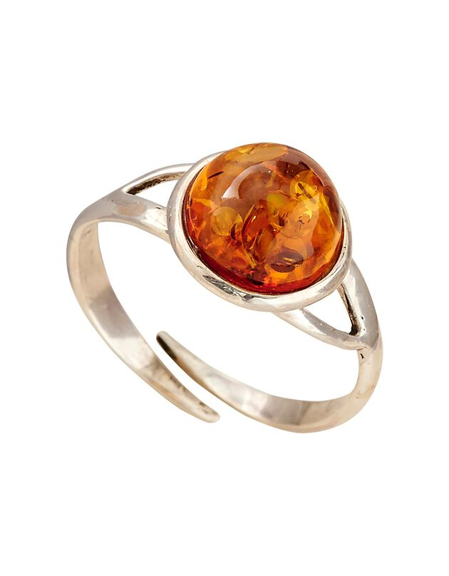 Verstelbare 'bol' ring in amber en zilver, amber, hi-res