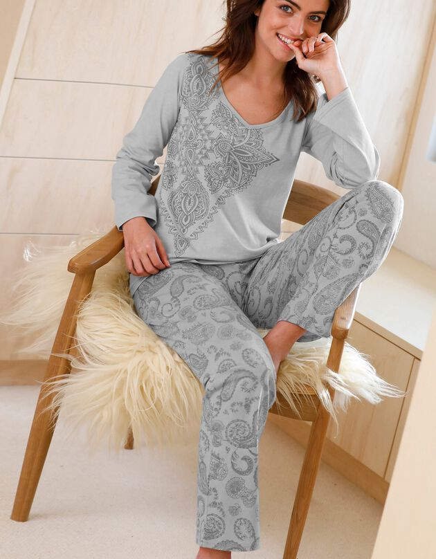Pyjama imprimé cachemire manches longues coton, gris, hi-res