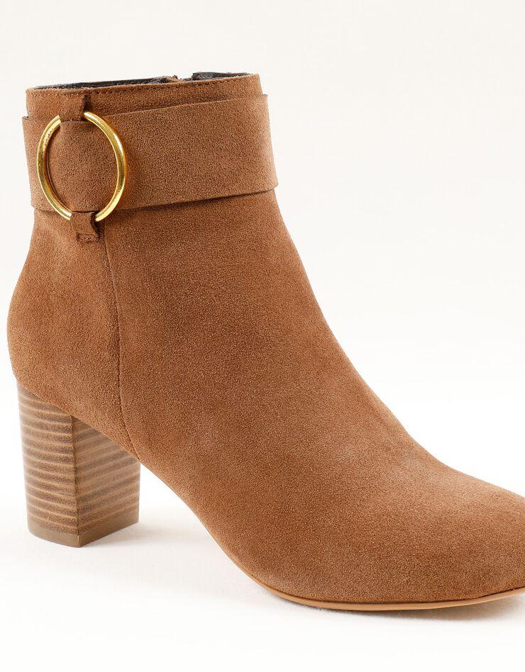 Boots in splitleer met gesp opzij, karamel, hi-res image number 0