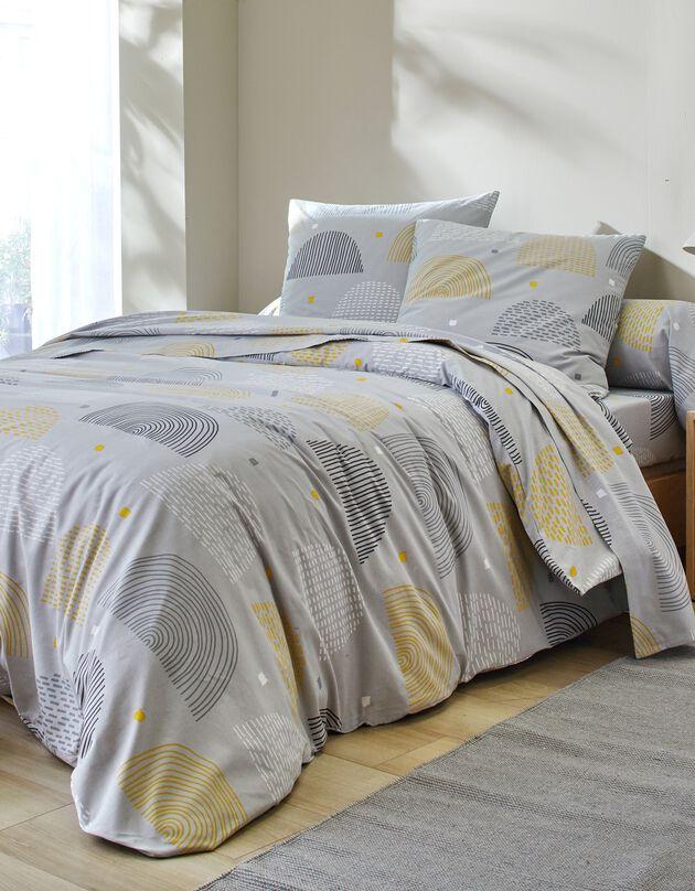 Parure de lit Emilie - coton, gris / jaune, hi-res