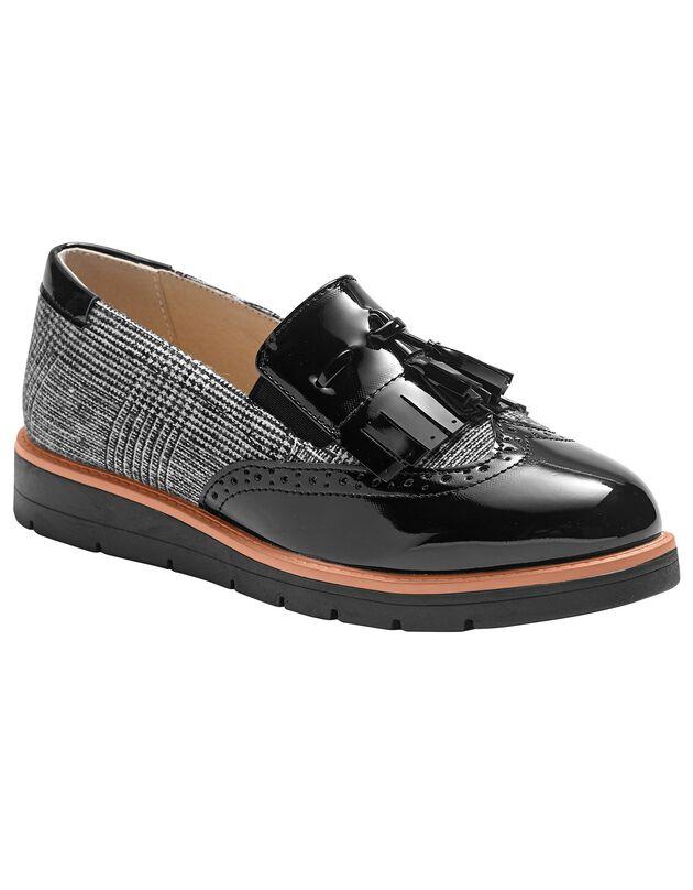 Slip-ons met sleehak, franjes en pompons - geruit/grijs, zwart / grijs, hi-res