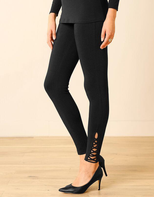 Legging base à effet lacé croisé en coton stretch, noir, hi-res