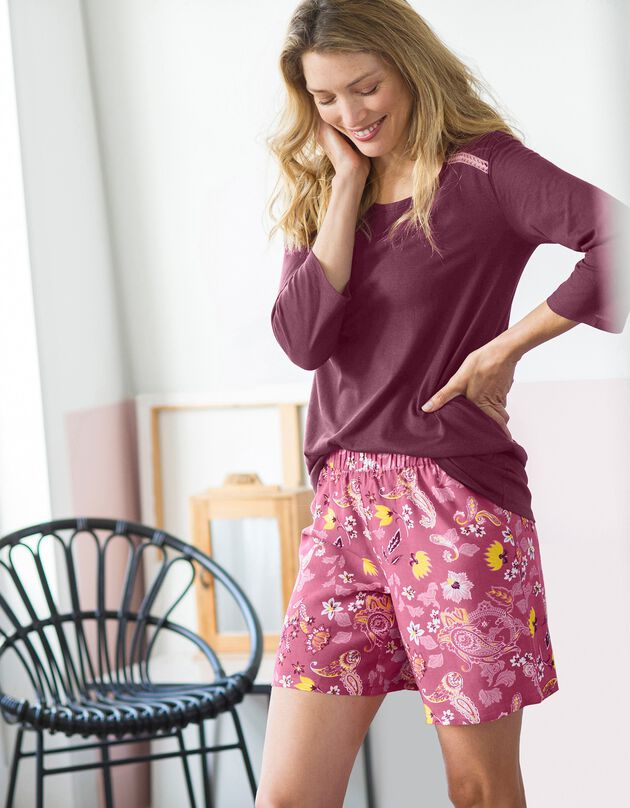 Tee-shirt pyjama uni manches 3/4, cerise, hi-res