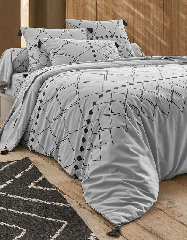 Linge de lit Massai coton à motifs graphiques et finitions pompons, gris, hi-res