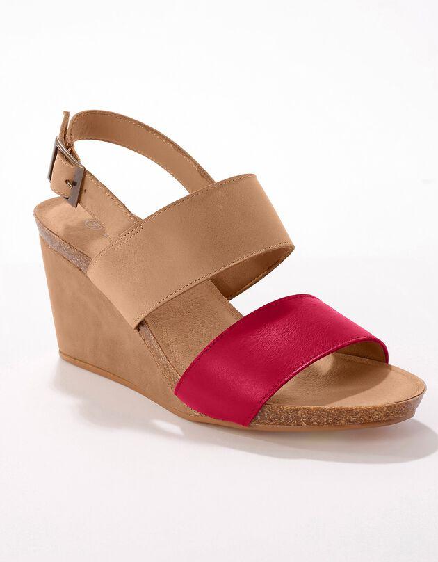 Leren sandalen met sleehak - naturel/rood, naturel, hi-res