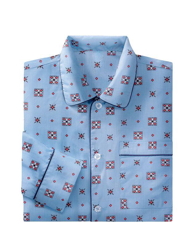 Bedrukte pyjama in popeline van polyester/katoen, blauw, hi-res