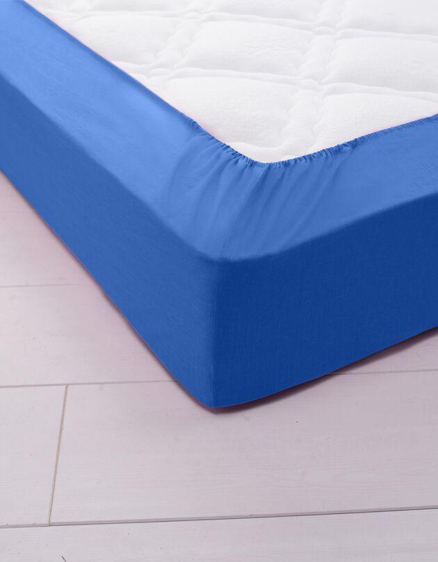 Effen hoeslaken in polyester-katoen, hoekdiepte 32 cm, oceaan, hi-res