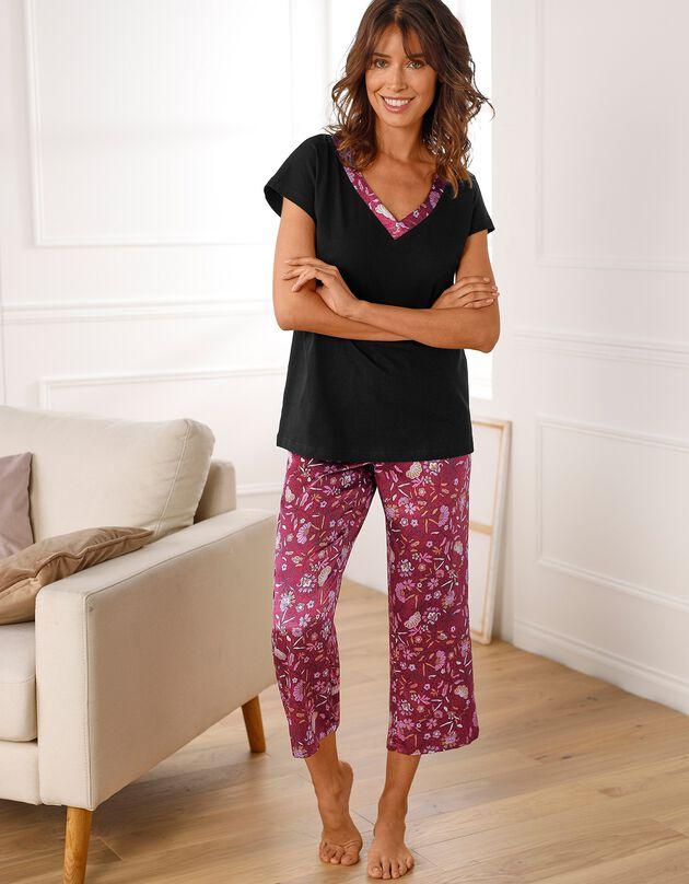 Pyjama manches courtes coton uni et satin imprimé., noir / bordeaux, hi-res