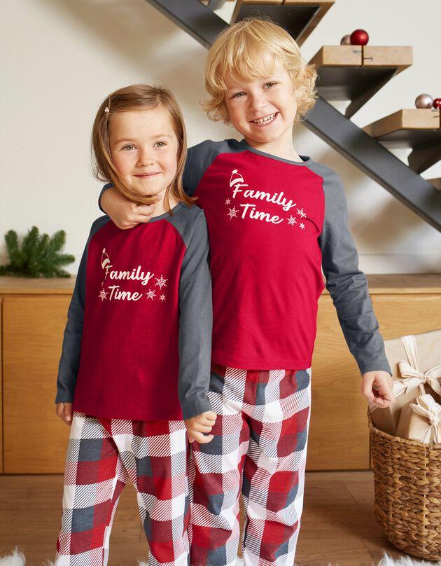 Kerstpyjama voor kinderen, lange mouwen, grijs / rood, hi-res