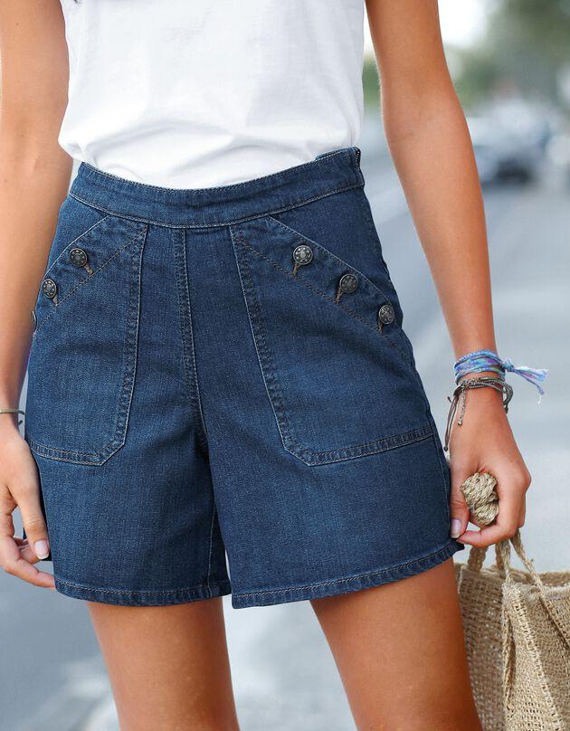 Short jean boutonné, stone, hi-res