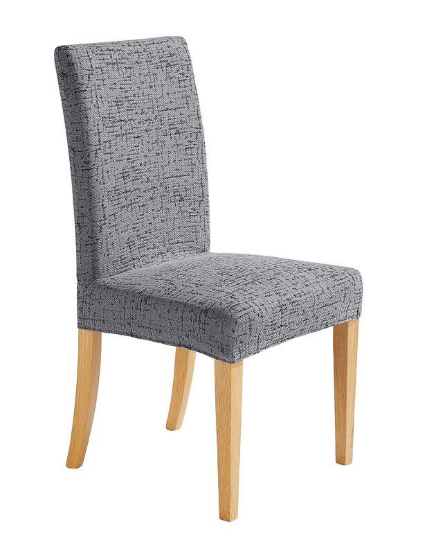Housse de chaise chinée bi-extensible, gris, hi-res