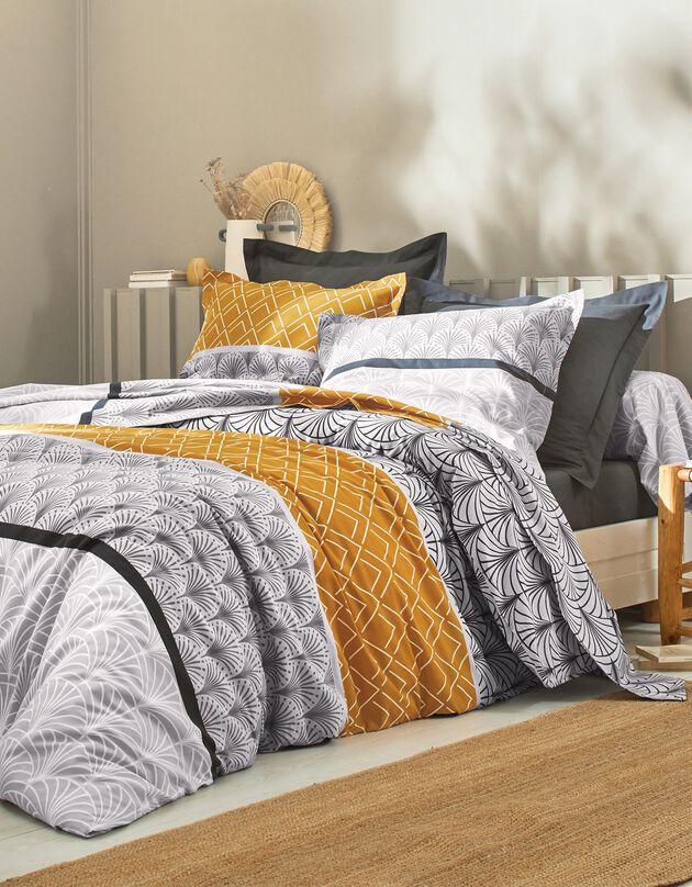 Linge de lit Eddy en coton à motifs graphiques, caramel, hi-res