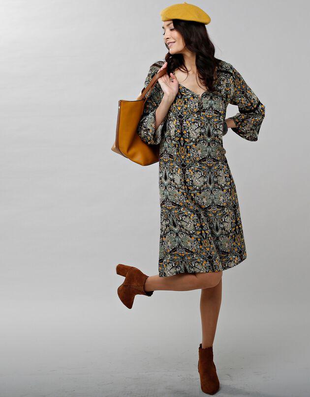 Bedrukte jurk met pagodemouwen, kaki / honing, hi-res