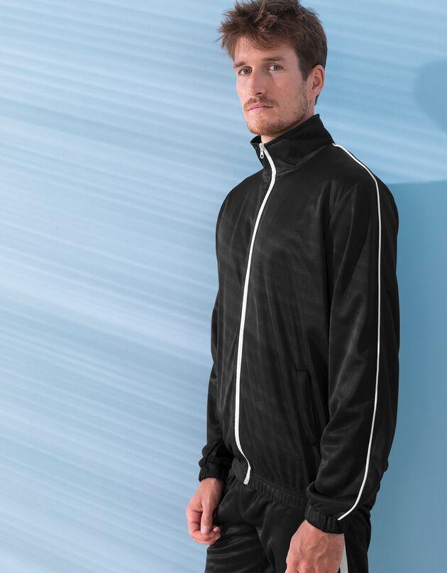 Veste sport microfibre zippée, noir, hi-res